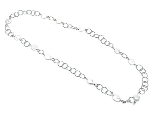 Long silver rings with coin pearls necklace