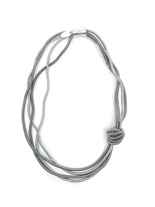 silver and slate short wave piano wire necklace with large knot