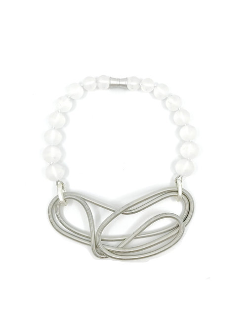 frosted glass with silver chunky free form wire necklace