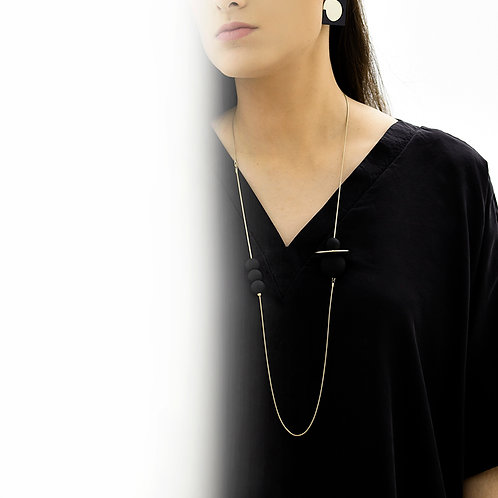 Astro Long Necklace Gold Black