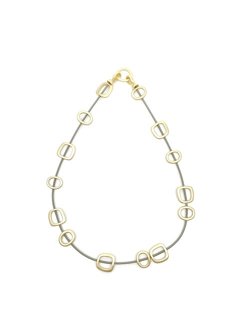 wire necklace with gold squares and metal clasp