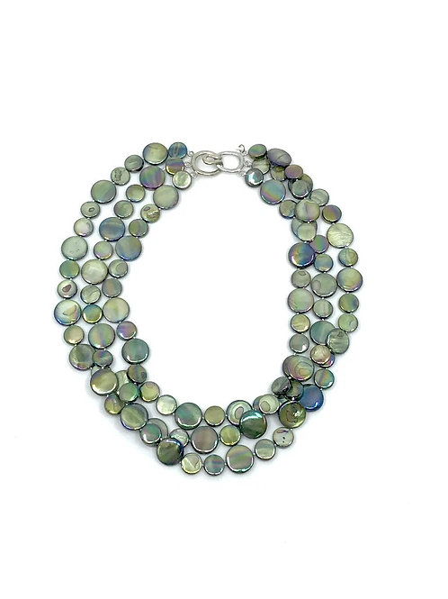3 strand mother of pearl necklace moss