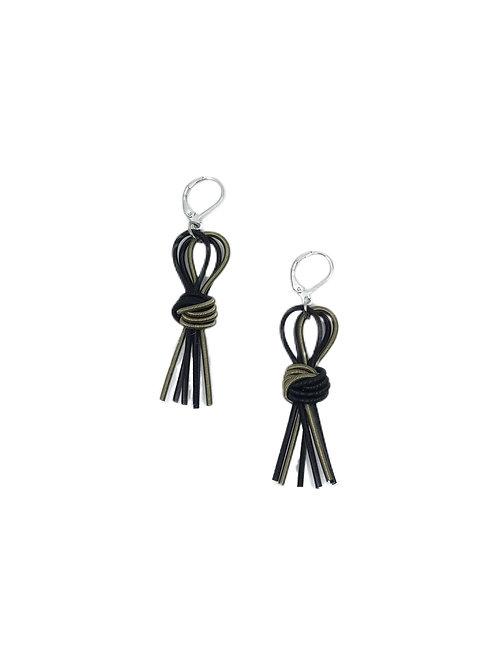 bronze-black knot tassel earring