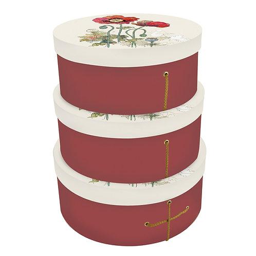 BUG ART POPPY SET OF 3 HAT BOXES, Min Qty: 1