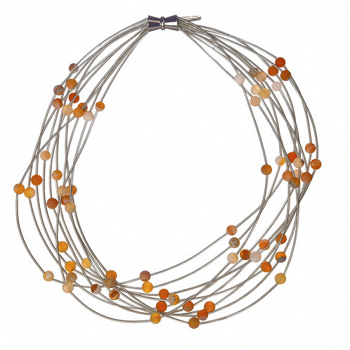 10 layer silver necklace with apricot geo