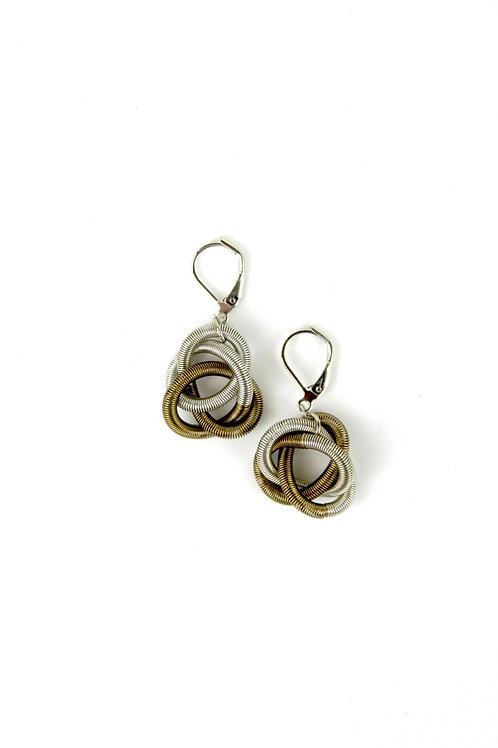 silver-bronze floating knot earring