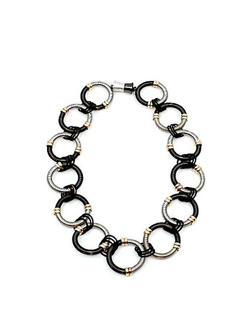 large round black/silver wire rings short necklace