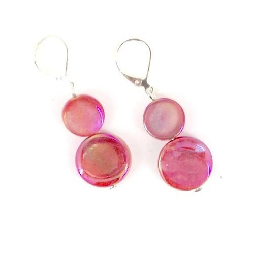 mother of pearl earring-coral