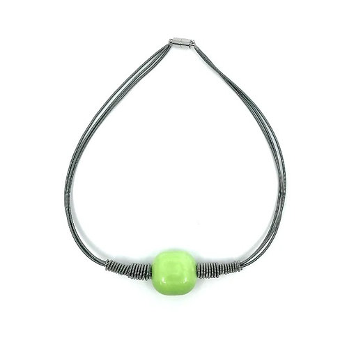 3 strand short slate p.w. necklace with lime square bead