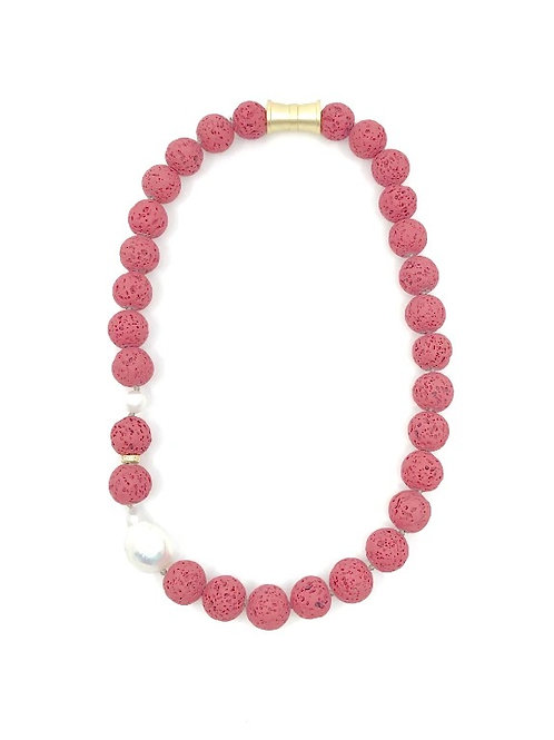 Red short dyed lava rock necklace with keshi pearl