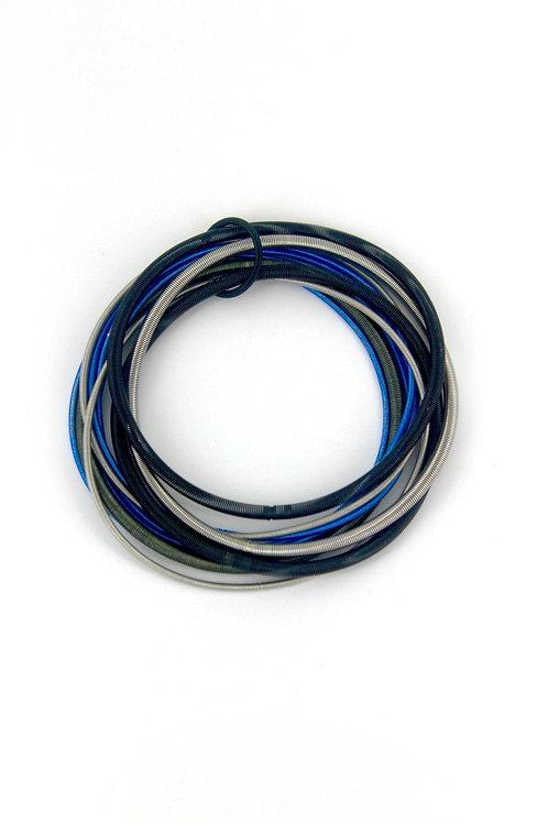 bllue-blk-silver multi strand bracelet