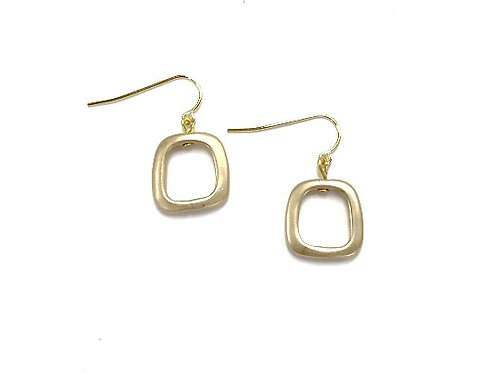 gold square with wire earring