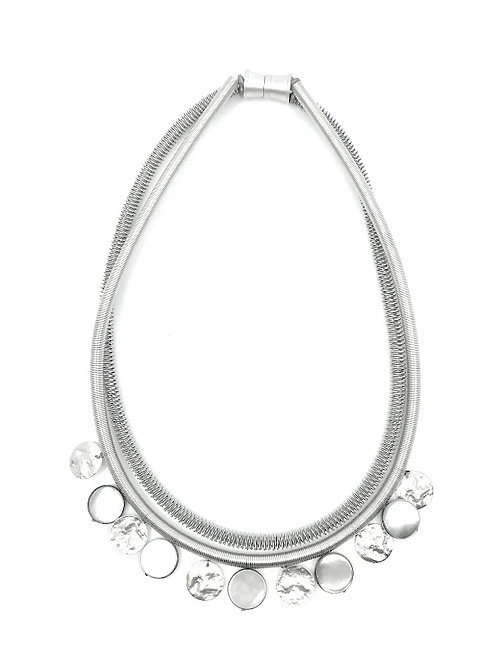 silver wire necklace with gray mop disc