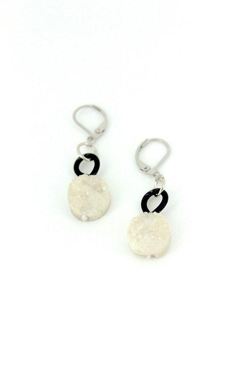 black earring with white druzi drop