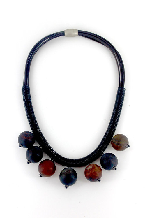 black suede short necklace with wire and slate glass beads