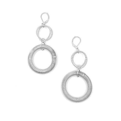 silver large loop drop earring