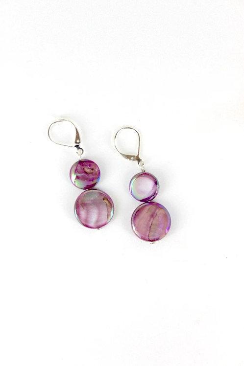 mother of pearl earring-purple
