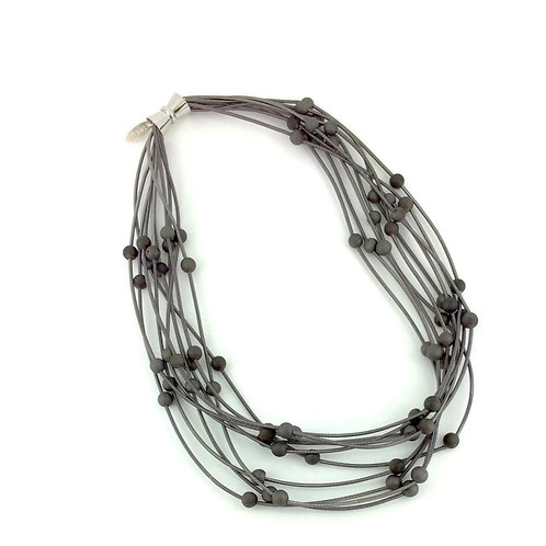 10 layer slate necklace with gray geo
