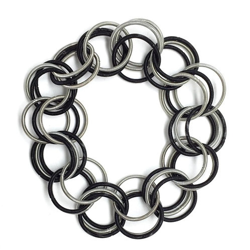 black and silver spring ring bracelet