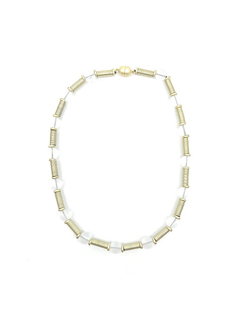 short gold tube necklace with frost beads