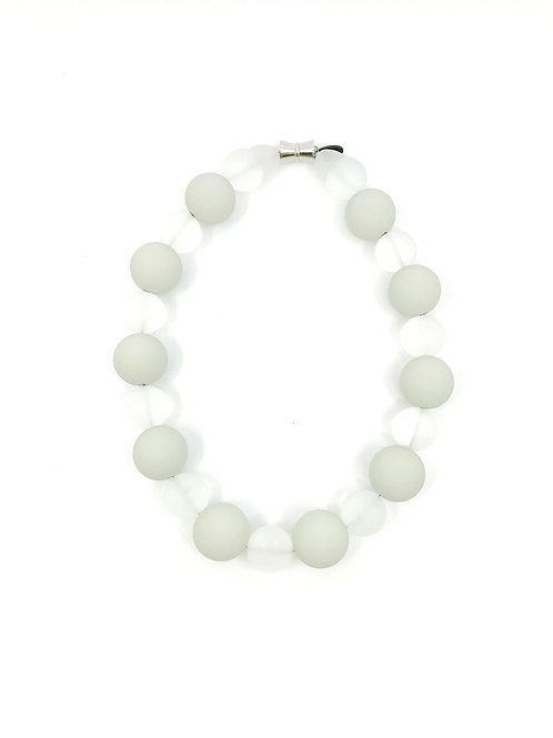 light olive and white frosted beads necklace
