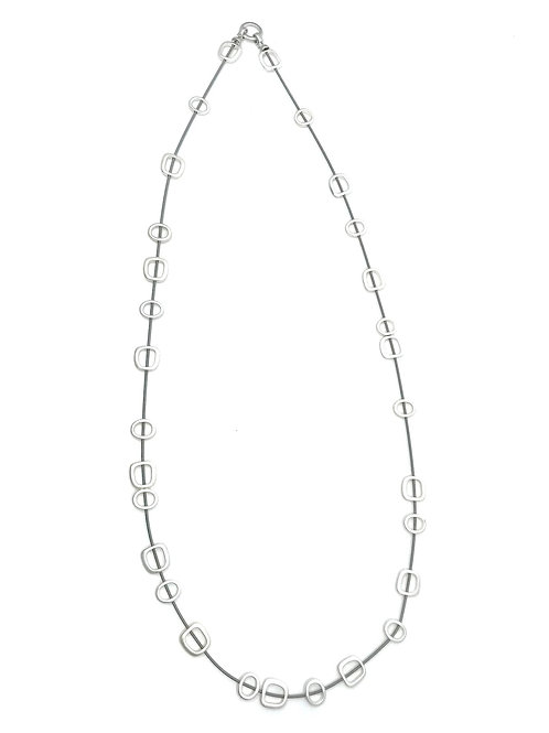 long wire necklace with silver squares and metal clasp