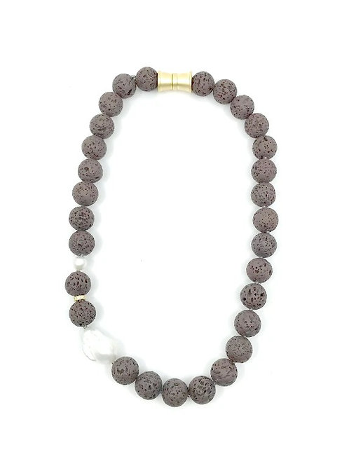 Chocolate short dyed lava rock necklace with keshi pearl