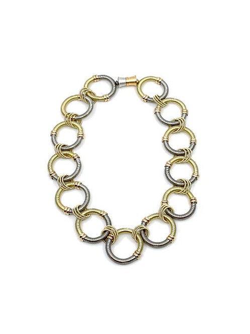 large round silver/gold wire rings short necklace