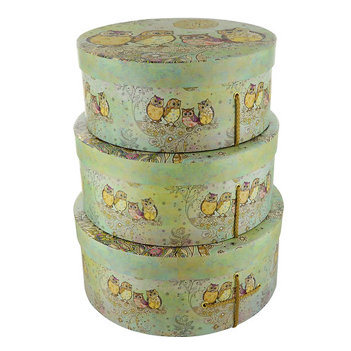 BUG ART OWLS ON BRANCH SET OF 3 HAT BOXES, Min Qty: 1
