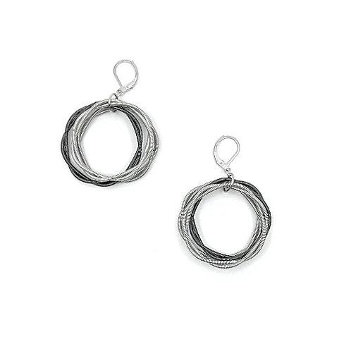 silver/slate twist loop earrings