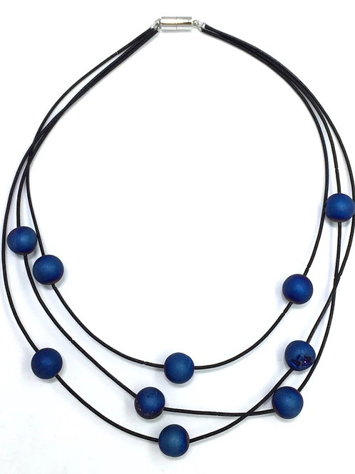 black 3 strand piano wire necklace with layered blue geo