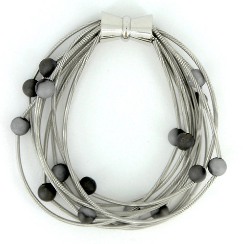 10 layer silver bracelet with silver-slate geo