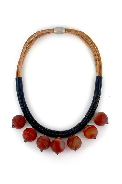 tan suede short necklace with wire and rose glass beads