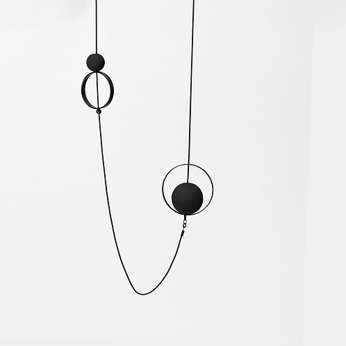 Spindles Long Necklace Matte Black