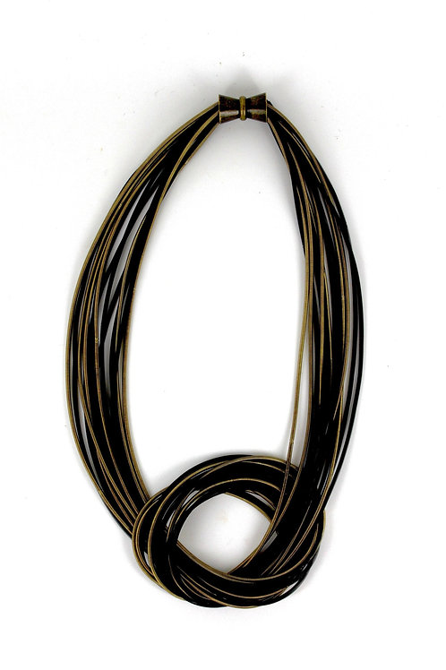 black and bronze piano wire large knot necklace