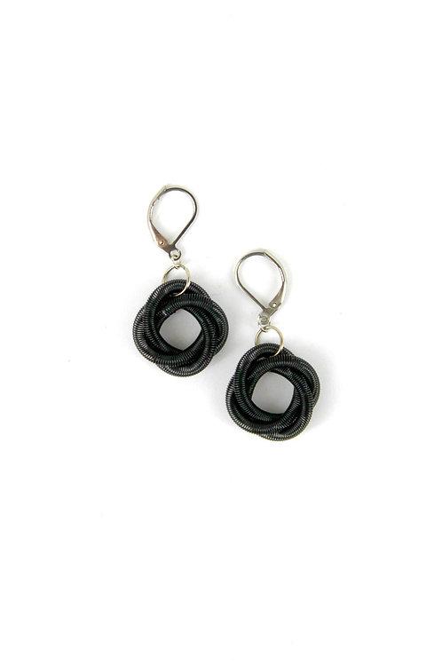 black floating knot earring