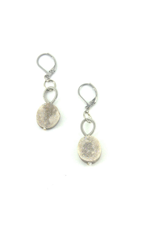 silver earring with white druzi drop