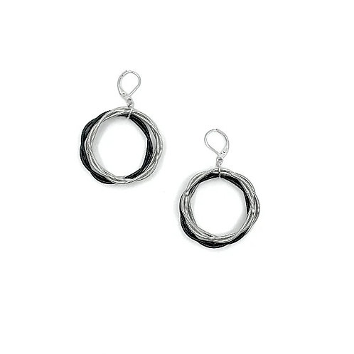 silver/black twist loop earrings