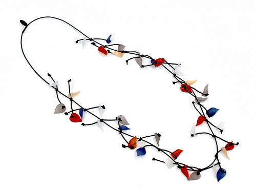 long leather necklace w/multi resin leaves