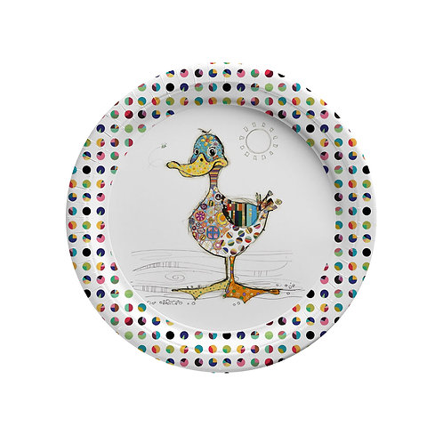 BUG ART DOTTY DUCK  8 X 7INCH BIODEGRADABLE PLATES, Min Qty: 12
