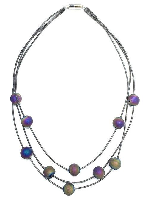 bronze 3 strand piano wire necklace with layered irri geo
