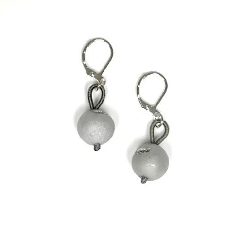 slate earring with gray geo