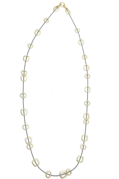 long wire necklace with gold squares and metal clasp