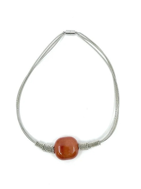 3 strand short silver p.w. necklace with tangerine square bead