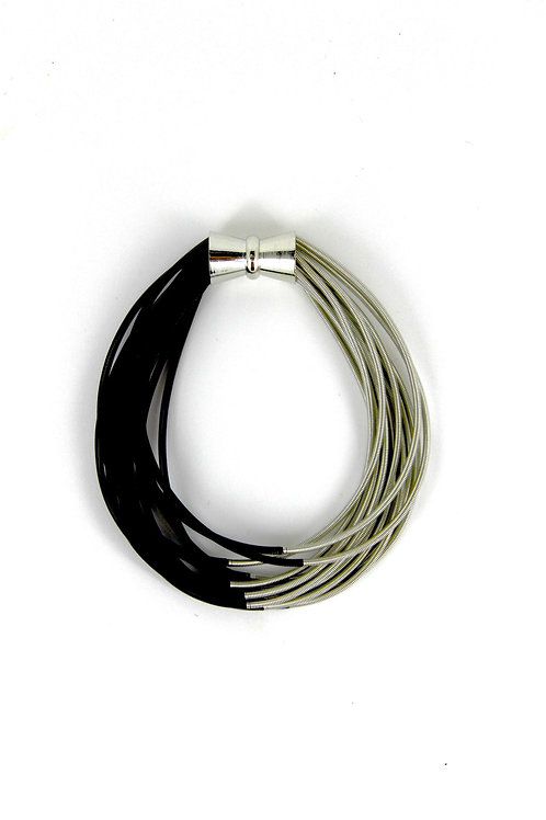 silver-black two tone pw bracelet with magnet