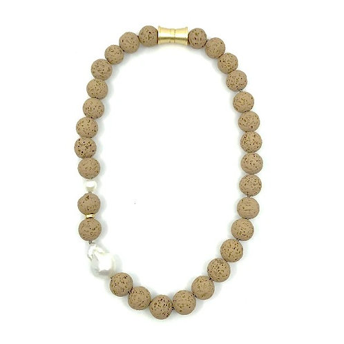 Tan short dyed lava rock necklace with keshi pearl