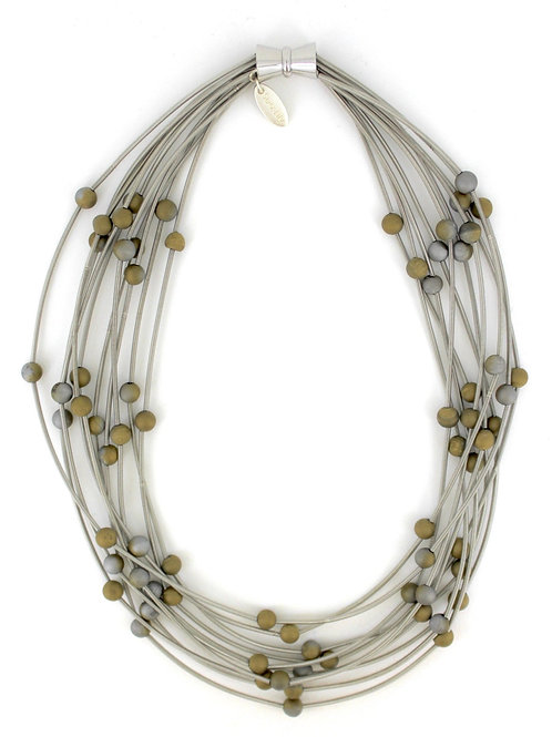 10 layer silver necklace with silver-gold geo