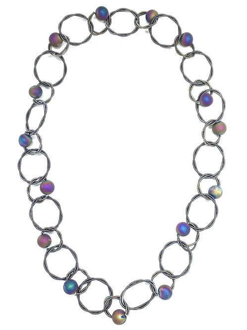 slate multi loop piano wire necklace with irri geo