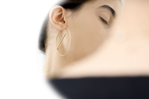Float Hoops Satin Gold
