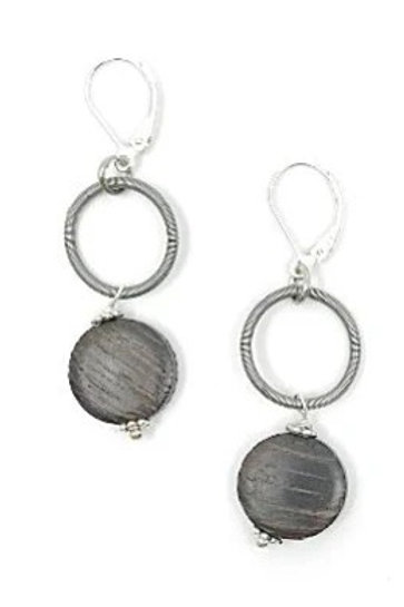 silver loop earring with wood drop